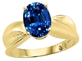 Tommaso Design Oval 9x7mm Created Sapphire Solitaire Ring