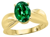 Tommaso Design Oval 9x7mm Simulated Emerald Solitaire Ring