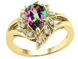 Tommaso Design™ Pear Shape 8x6 mm Mystic Rainbow Topaz and Diamond Ring