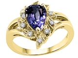 Tommaso Design™ Pear Shape 8x6 mm Genuine Iolite and Diamond Ring