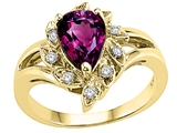Tommaso Design Pear Shape 8x6 mm Genuine Rhodolite and Diamond Ring