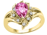 Tommaso Design™ Pear Shape 8x6 mm Created Pink Sapphire and Diamond Ring