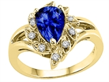 Tommaso Design Pear Shape 8x6 mm Created Sapphire and Diamond Ring
