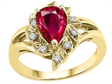 Tommaso Design Pear Shape 8x6mm Created Ruby and Diamond Ring