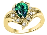 Tommaso Design™ Pear Shape 8x6 mm Simulated Emerald and Genuine Diamond Ring