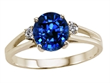 Tommaso Design™ Round 7mm Created Sapphire and Genuine Diamond Ring