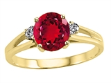 Tommaso Design Round 7mm Created Ruby and Genuine Diamond Ring