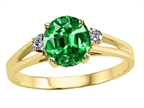 Tommaso Design™ Round 7mm Simulated Emerald And Genuine Diamond Ring