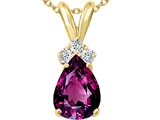 Tommaso Design™ Pear Shape 8x6mm Genuine Rhodolite and Diamond Pendant
