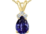Tommaso Design Pear Shape 8x6mm Genuine Iolite and Diamond Pendant