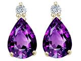 Tommaso Design™ Genuine 8x6mm Amethyst and Diamond Earrings