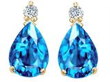 Tommaso Design™ Pear Shape 8x6mm Genuine Blue Topaz Earrings style: 25995