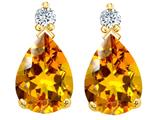 Tommaso Design Pear Shape 8x6mm Genuine Citrine and Diamond Earrings