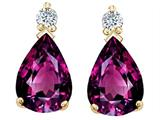 Tommaso Design™ Pear Shape 8x6mm Genuine Rhodolite Earrings style: 26000