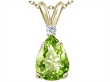 Tommaso Design™ Genuine Pear Shaped 9 x 7mm Peridot and Diamond Pendant