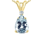 Tommaso Design™ Pear Shape Genuine Aquamarine and Diamond Pendant style: 26013