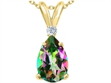 Tommaso Design™ Genuine Pear Shaped 9 x7 mm Mystic Rainbow Topaz and Diamond Pendant