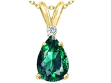 Tommaso Design™ Created Pear Shaped 9 x 7mm Emerald and Genuine Diamond Pendant
