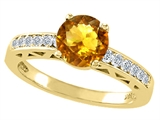 Tommaso Design™ Round 7mm Genuine Citrine and Diamond Solitaire Engagement Ring