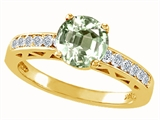 Tommaso Design Round 7mm Genuine Green Amethyst and Diamond Solitaire Engagement Ring