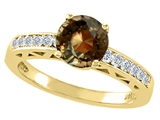 Tommaso Design™ Round 7mm Genuine Smoky Quartz and Diamond Solitaire Engagement Ring