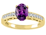 Tommaso Design™ Genuine Amethyst and Diamond Solitaire Engagement Ring