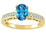 Tommaso Design™ Oval 8x6mm Genuine Blue Topaz and Diamond Solitaire Engagement Ring