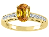 Tommaso Design™ Oval 8x6mm Genuine Citrine and Diamond Solitaire Engagement Ring style: 26062