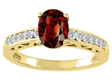 Tommaso Design Genuine Garnet and Diamond Solitaire Engagement Ring