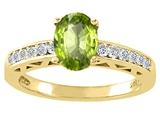 Tommaso Design™ Oval 8x6mm Genuine Peridot and Diamond Solitaire Engagement Ring