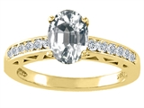 Tommaso Design™ Genuine White Topaz and Diamond Solitaire Engagement Ring