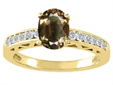 Tommaso Design™ Oval 8x6mm Genuine Smoky Quartz and Diamond Solitaire Engagement Ring