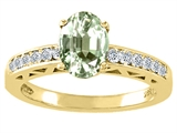 Tommaso Design™ Oval 8x6mm Genuine Green Amethyst and Diamond Solitaire Engagement Ring