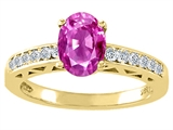 Tommaso Design™ Oval 8x6mm Genuine Pink Tourmaline and Diamond Solitaire Engagement Ring