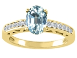 Tommaso Design™ Genuine Aquamarine and Diamond Solitaire Engagement Ring style: 26070