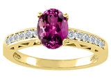Tommaso Design™ Oval 8x6mm Genuine Rhodolite and Diamond Solitaire Engagement Ring