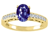 Tommaso Design™ Oval 8x6mm Genuine Iolite and Diamond Solitaire Engagement Ring