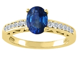 Tommaso Design Genuine Sapphire and Diamond Solitaire Engagement Ring