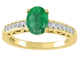 Tommaso Design™ Genuine Emerald and Diamond Solitaire Engagement Ring style: 26074