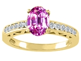 Tommaso Design™ Oval 8x6mm Created Pink Sapphire and Diamond Solitaire Engagement Ring