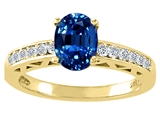 Tommaso Design™ Oval 8x6mm Created Sapphire and Diamond Solitaire Engagement Ring
