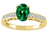 Tommaso Design™ Oval 8x6mm Simulated Emerald And Diamond Solitaire Engagement Ring