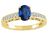 Tommaso Design™ Genuine Sapphire and Diamond Solitaire Engagement Ring