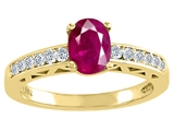 Tommaso Design™ Genuine Ruby and Diamond Solitaire Engagement Ring