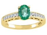 Tommaso Design™ Genuine Emerald and Diamond Solitaire Engagement Ring