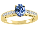 Tommaso Design™ Oval 7x5mm Genuine Tanzanite and Diamond Solitaire Engagement Ring