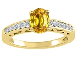 Tommaso Design Oval 7x5mm Genuine Yellow Sapphire and Diamond Solitaire Engagement Ring