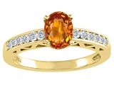 Tommaso Design™ Oval 7x5mm Genuine Orange Sapphire and Diamond Solitaire Engagement Ring