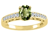 Tommaso Design™ Oval 7x5mm Genuine Green Sapphire and Diamond Solitaire Engagement Ring