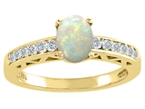 Tommaso Design Genuine Opal and Diamond Solitaire Engagement Ring